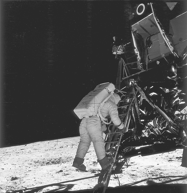 A photo from the Apollo 11 moon landing.