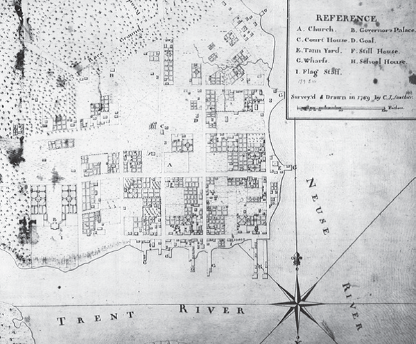 The C.J. Sauthier map of New Bern, drawn 1769.