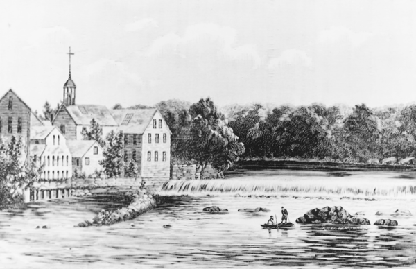 A woodcut showing the Old Slater Mill circa 1840.