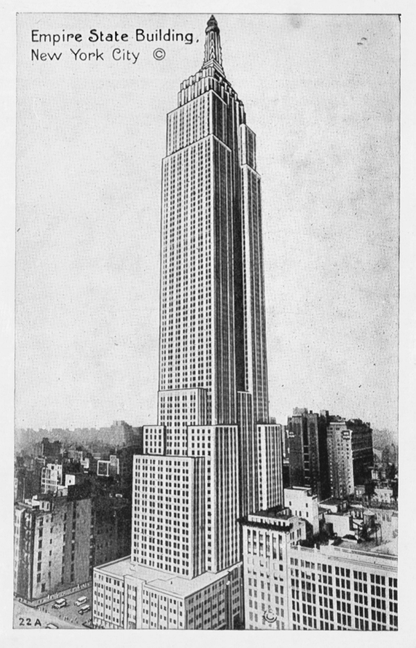 A postcard of the Empire State Building, one of the sites listed on the National Register of Historic Places.