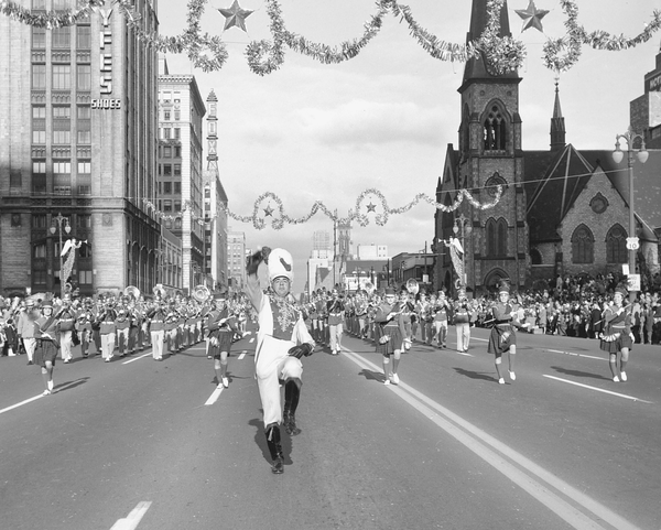 Held since 1924, the Detroit Thanksgiving parade features several marching bands, led by bandleaders like this one here from 1960.