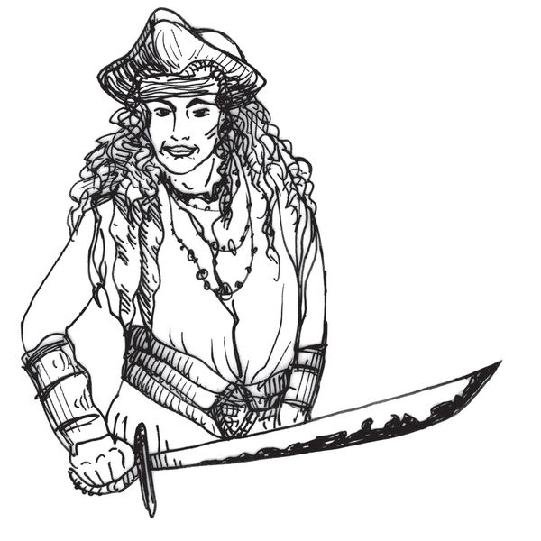 An artist's rendition of pirate Rachel Wall.