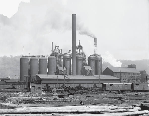 A picture of the first steel plant in Pittsburgh.