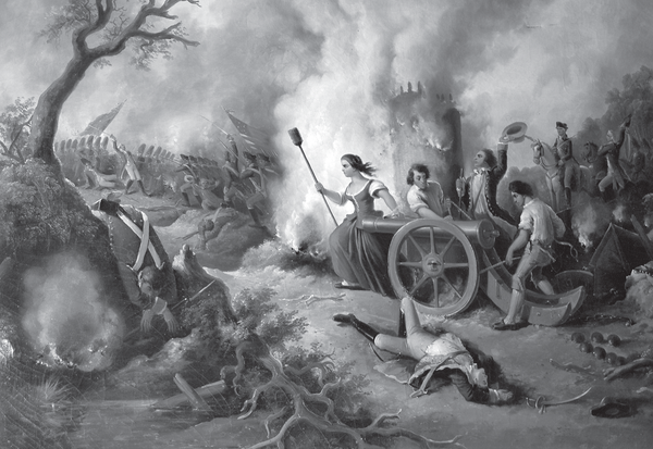 A 19th century painting depicting Molly Pitcher.