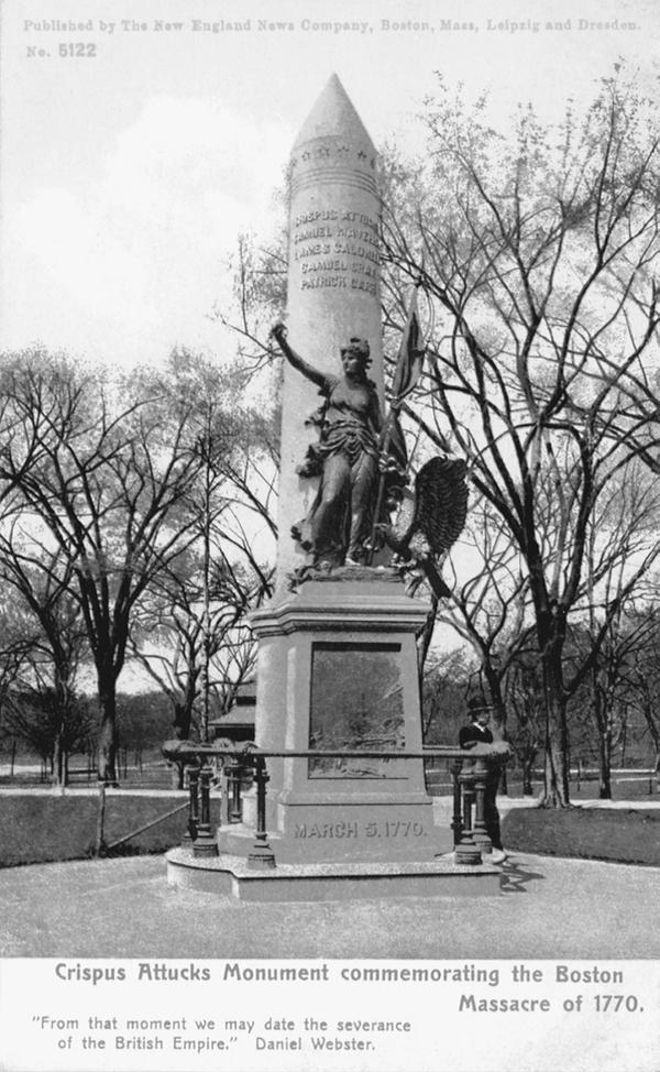 A memorial commemorating Crispus Attucks and the Boston Massacre.