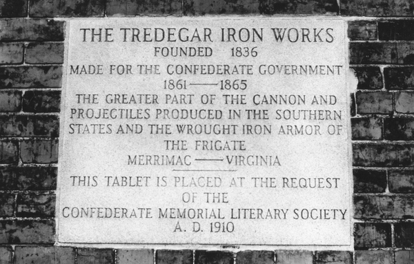 A plaque commemorating the work of Tredegar Iron Works.