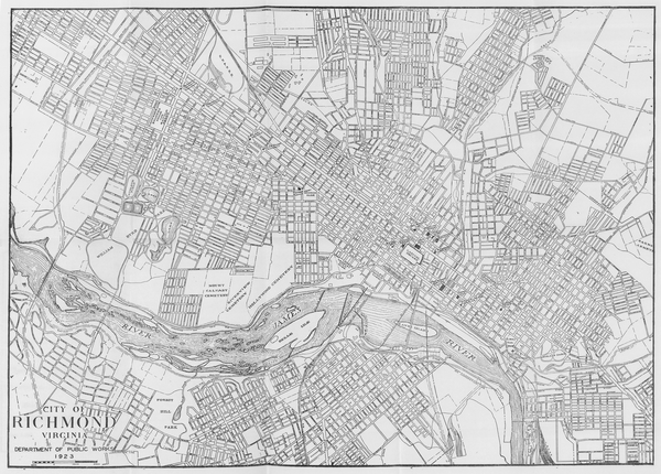 A 1925 map of Richmond and its surrounding neighborhoods.