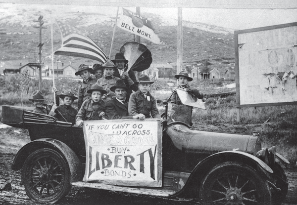 """Boy Scouts from Belt raising money for Liberty Loan. """"If You can't Go Across, Come Across – Buy Liberty Bonds."""" Reprinted from World War I Montana: The Treasure State Prepares by Ken Robison, courtesy of the History Museum (pg. 136, The History Press, 2018)."""