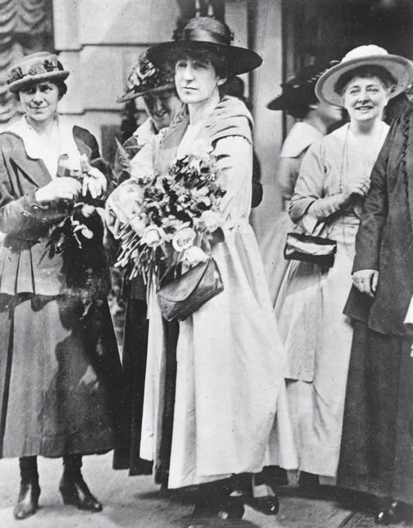 Montana congresswoman Jeanette Rankin's first appearance in Washington on April 2, 1917, shortly before she cast a vote against the declaration of war. Reprinted from World War I Montana: The Treasure State Prepares by Ken Robison, courtesy of the Montana Historical Society, no. 944-480 (pg. 22, The History Press, 2018).