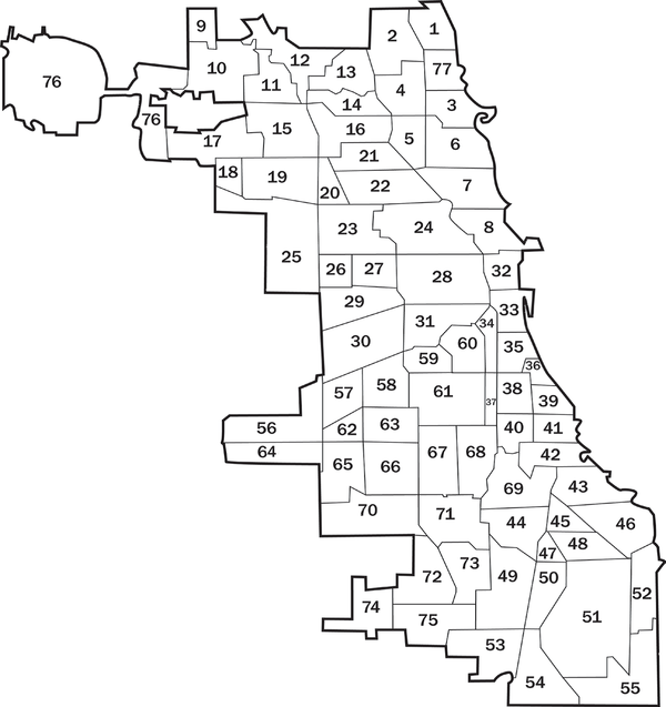 A map of the 77 communities of Chicago.