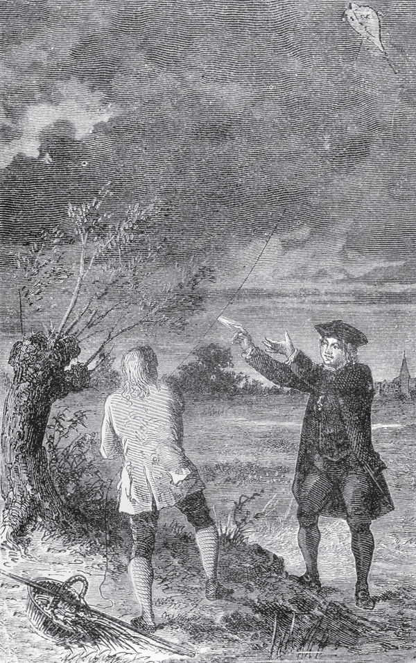 "A depiction of Franklin's famous ""kite experiment."""