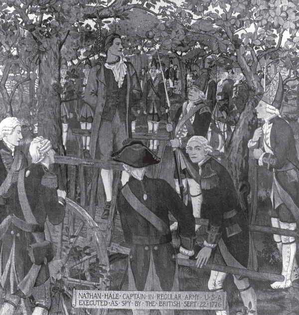 A depiction of Nathan Hale's execution.