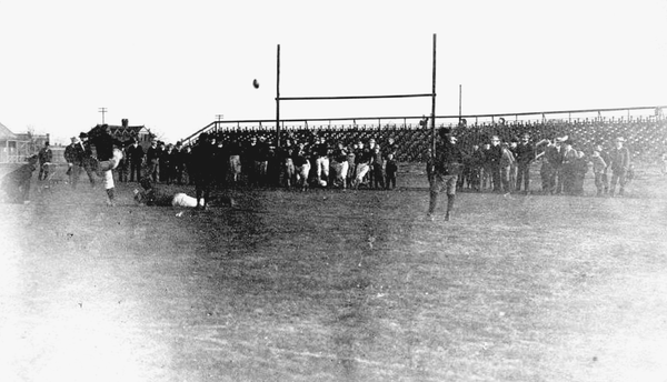 An early football game in Pennsylvania, near the turn of the 20th century.