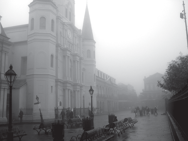 An eerie foggy morning in Jackson Square.