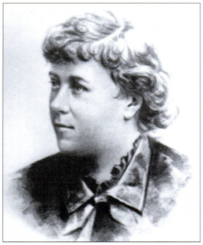 A drawing of a young Elizabeth Cady Stanton, a central figure in the women's suffrage movement.