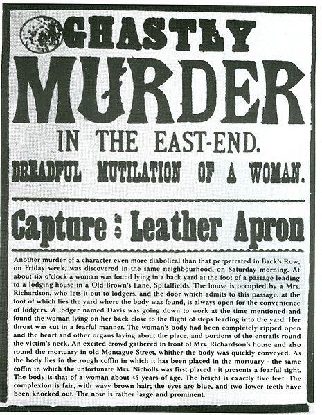"An 1888 wanted poster for notorious serial killer Jack the Ripper, who was never caught during his ""reign of terror."""