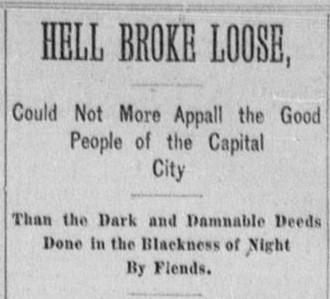 A newspaper headline referring to the Servant Girl Annihilator.