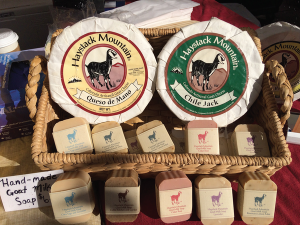 Haystack Mountain Cheese, founded in 1989 in Longmont, Colorado, focuses on goat milk cheeses and product, Union Station Farmers Market. Author photo.