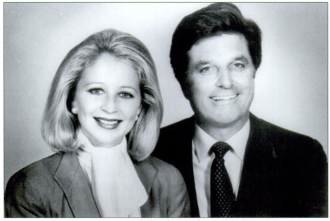 Angela Hill with fellow newscaster Garland Robinette.