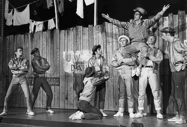 "The original Broadway cast of West Side Story performing ""Gee, Officer Krupke."" West Side Story attempted to address the dangers of racial and cultural divides."