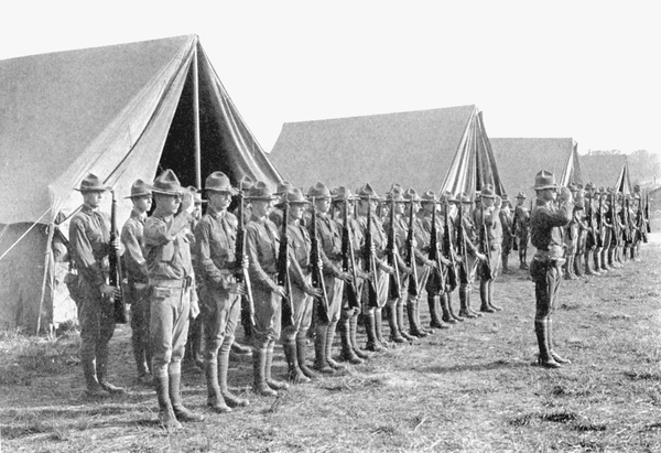A round of cadets stands during their training.