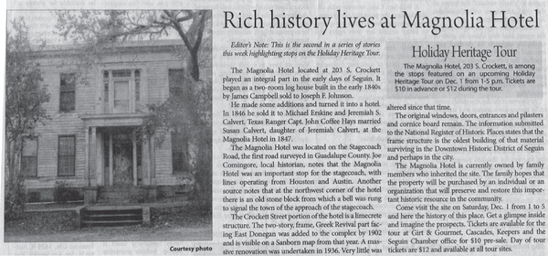 A newspaper clipping about the Magnolia Hotel.