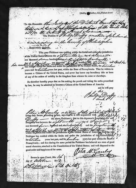 Philip Duffy's naturalization papers. Reprinted from Massacre at Duffy's Cut: Tragedy & Conspiracy on the Pennsylvania Railroad by William E. Watson and J. Francis Watson, courtesy of the National Archives and Records Administration (pg. 25, The History Press, 2018).