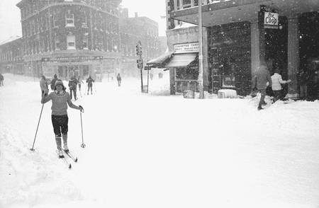 A woman skis through the streets during a 1978 blizzard in Boston.