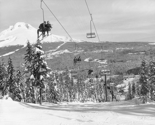 Recreational skiiers ride the ski lift built in 1937 at Mount Hood National Forest.