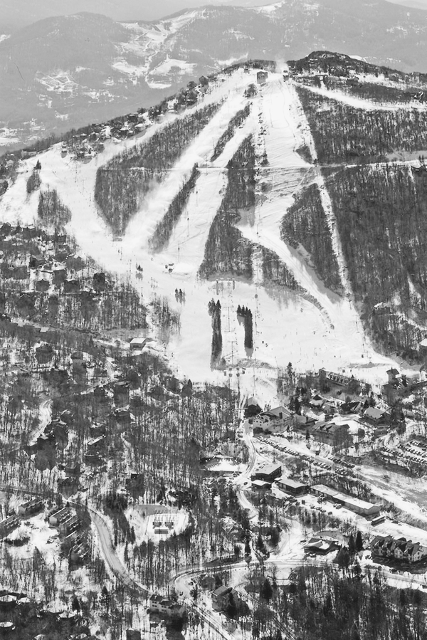 An aerial photo of Beech Mountain.