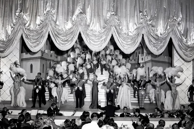 This photograph captures the Venetian-style curtain coming down on the Fountain Theatre Stage at the Hotel Tropicana during the 1961edition of the Folies Bergere. (Courtesy of Don English/Las Vegas News Bureau.)