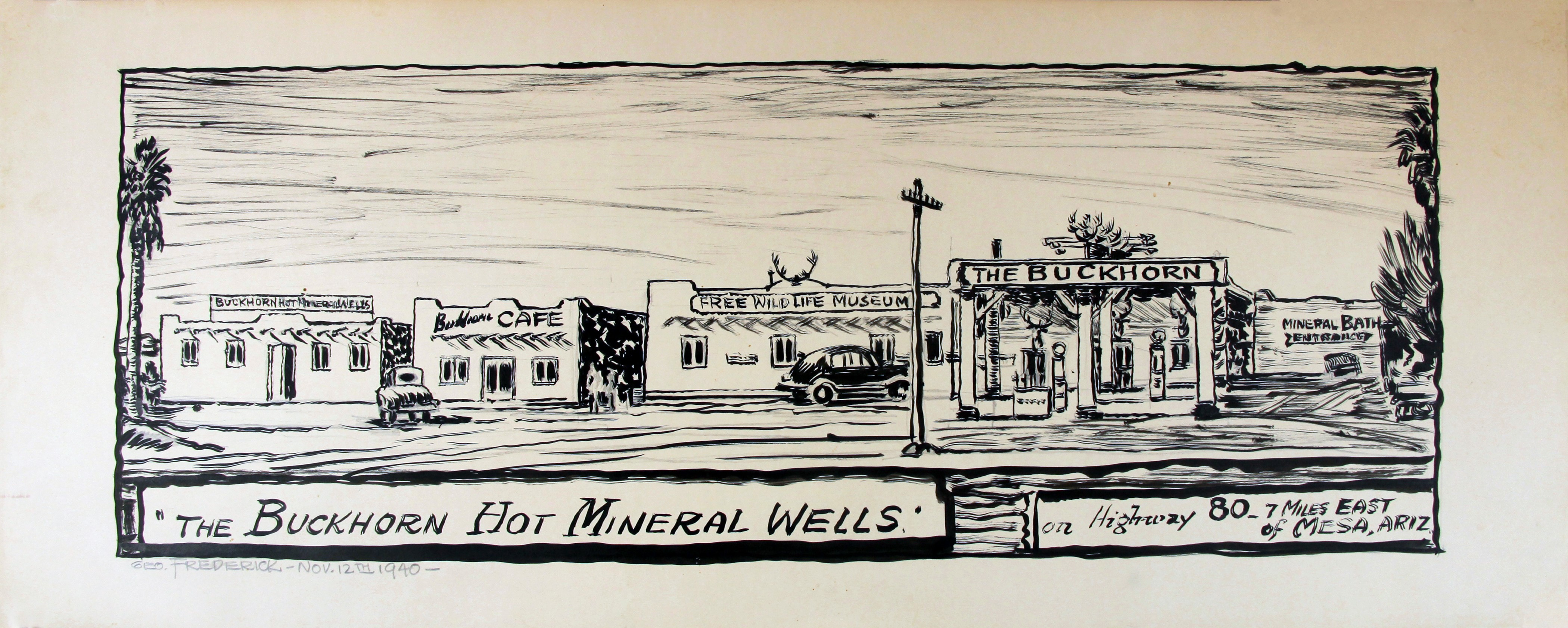 The earliest known rendering of the Buckhorn was created by artist-in residence George Frederick in 1940. Although slightly modified over the years, all the original buildings are still in place.