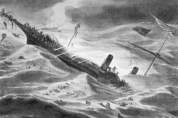A painting depicting the sinking of the SS Central America. Reprinted from Mines of Clear Creek County by Ben M. Dugan courtesy of the Library of Congress (pg. 10, Arcadia Publishing, 2013).