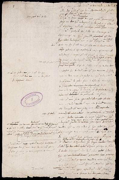 The first page of the Dutch Act of Abjuration, written in 1581. Public domain image via Wikimedia Commons.