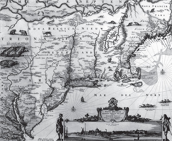 A 17th century map of the East Coast of North America, including the area of New Netherlands. Reprinted from Food, Drink, and Celebrations of the Hudson Valley Dutch by Peter G. Rose courtesy of the collection of Joep de Koning and Foundation for Historic New Amsterdam (pg. 20, The History Press, 2009).