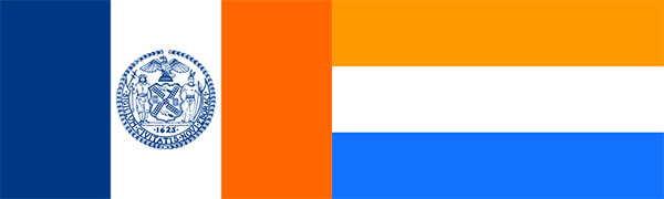 Left: The flag of New York City. Right: The Prince's Flag, the official flag of the Netherlands until 1630. New York City Flag image under CC-BY-SA 3.0, via Wikimedia Commons. The Prince's Flag image public domain via Wikimedia Commons.