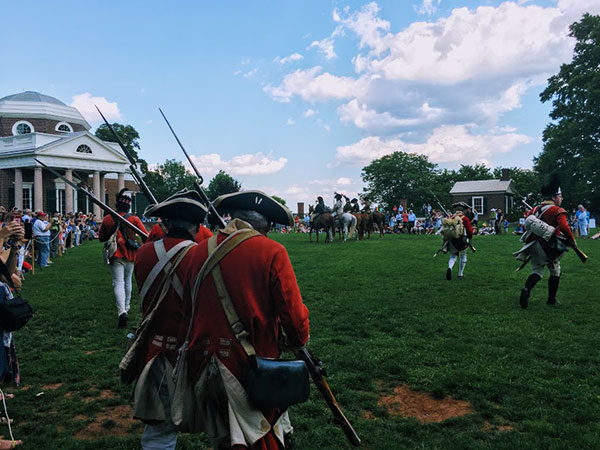 Re-enactment of the British Invasion of Virginia and Monticello, 2017. Photograph by Laura A. Macaluso.
