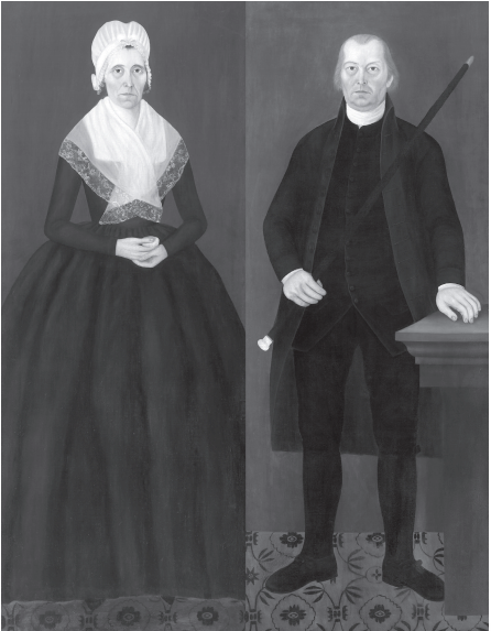 Full-portraits of Thomas and Elizabeth Cutts. Reprinted from Laurel Hill Cemetery of Saco, Maine by Leslie Rounds and Emory Rounds courtesy of the Collection of Saco Museum (pg. 71, The History Press, 2018).