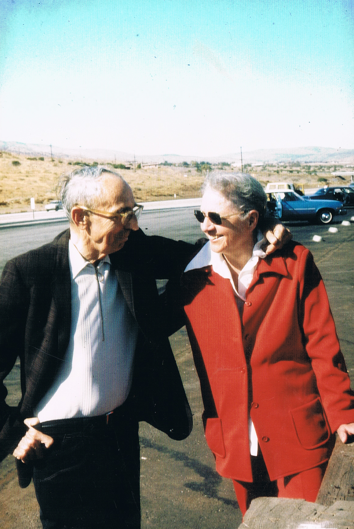 Edmond and Leigh in the Antelope Valley; courtesy of their friend, Swedish author Bertil Falk, who took the photograph.