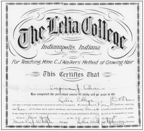 Virginia Abrams' Certificate of Lelia College Completion