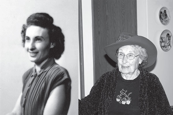 Left: Pauline Adams Webb at thirty-one, 1951. Right: Pauline Adams Webb in 2015. Both reprinted from Montana Women: From the Ground Up by Kristine Ellis for the Broadwater and Glacier County Conservation Districts courtesy of the Webb family and Denise Thompson, Broadwater Conservation District (pgs. 136 and 138, The History Press, 2018).