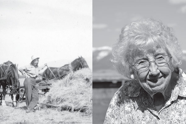 Left: Dorothy and her team of horses for bucking hay in 1949. Right: Dorothy in 2017. Both reprinted from Montana Women: From the Ground Up by Kristine Ellis for the Broadwater and Glacier County Conservation Districts courtesy of the Hahn family and Ross Campbell, DNRC (pgs. 62 and 66, The History Press, 2018).