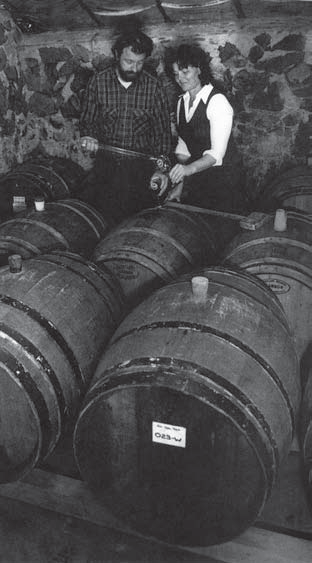 Dick and Nancy Ponzi testing their wine. Reprinted from Oregon Wine Country Stories: Decoding the Grapes by Kenneth Friedenreich (pg 35, The History Press, 2018).