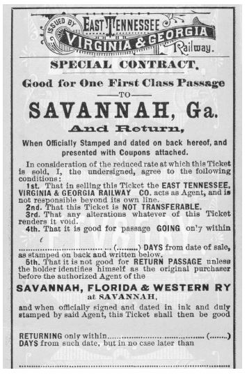 The ETV&G provided passage to Savannah through a connection at Jesup with the Savannah, Florida & Western Railway, owned by Henry B. Plant. In 1879, when he bought the railroad, there was only one line between Georgia and Florida. During the next decade, Plant added three more rail connections to the Sunshine State, making it much easier to get there and fueling Florida's tourist industry. (Courtesy of SRM.)