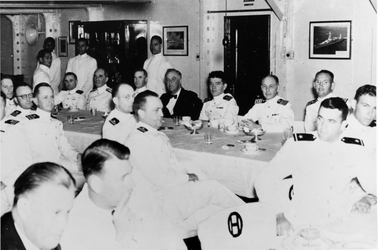 President Roosvelt Dining Aboard USS Houston in 1939 (US Navy Heritage and History Command)