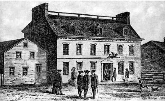 A sketch of the original Green Dragon Tavern, which hangs in the current Green Dragon Tavern (on the right). Reprinted from Boston Beer: A History of Brewing in the Hub by Norman Miller, courtesy of the Boston Public Library and Sara Withee (The History Press, 2014).