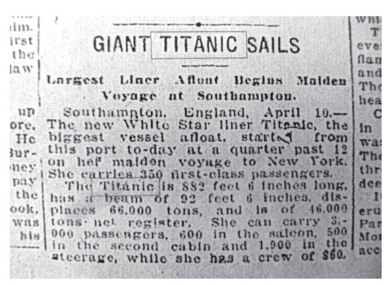 A story in the Times Dispatch announcing the sailing of the Titanic. Author's collection.