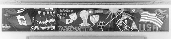 A mural for the World Cup in Pasadena, California. Reprinted from The Rose Bowl by Michelle L. Turner and the Pasadena Museum of History, courtesy of PMH, PSN Collection (pg. 99, Arcadia Publishing, 2010).