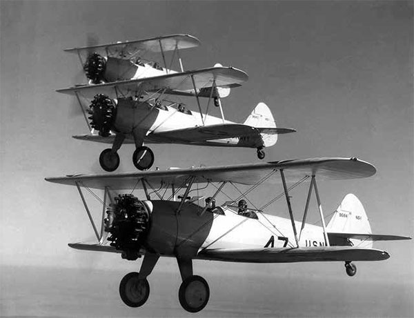 Stearman Kaydets being flown by naval aviation students. Reprinted from Central Coast Aviators in WWII by Jim Gregory courtesy of the U.S. Navy (pg. 32, The History Press, 2018).