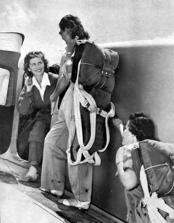 WASP pilots talking before towing targets for the USAAF. Reprinted from Central Coast Aviators in WWII by Jim Gregory courtesy of the Museum of the U.S. Air Force (pg. 39, The History Press, 2018).